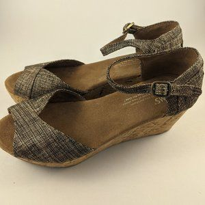 Toms Strappy Wedge Sandal Brown Sparkle Size 5.5
